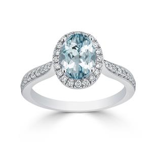 Halo Aquamarine Diamond Ring in 14K White Gold with 1.30 carat Oval Aquamarine