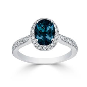 Halo London Blue Topaz Diamond Ring in 14K White Gold with 1.90 carat Oval London Blue Topaz
