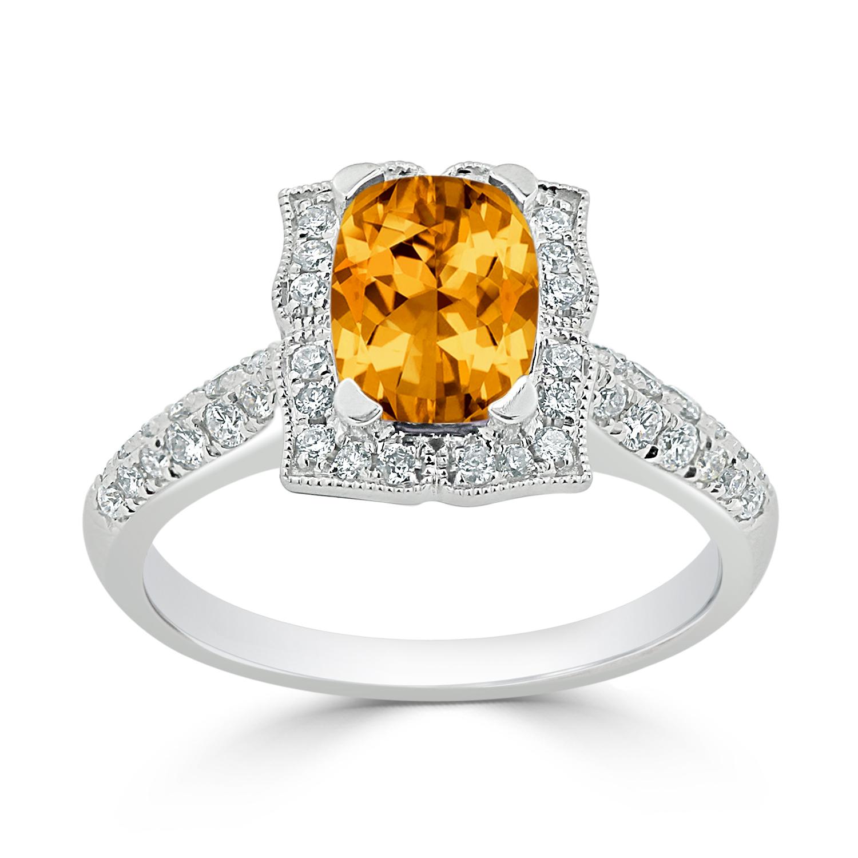 Halo Citrine Diamond Ring in 14K White Gold with 1.30 carat Cushion Citrine