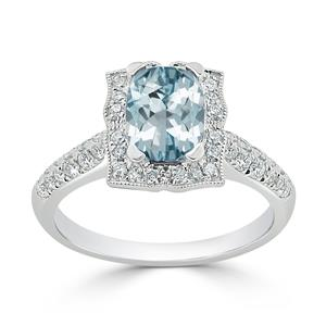 Halo Aquamarine Diamond Ring in 14K White Gold with 0.90 carat Cushion Aquamarine