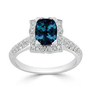 Halo London Blue Topaz Diamond Ring in 14K White Gold with 1.30 carat Cushion London Blue Topaz