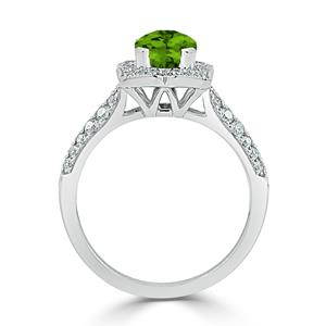 Halo Peridot Diamond Ring in 14K White Gold with 1.30 carat Cushion Peridot