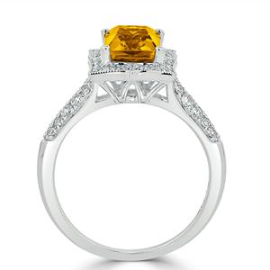 Halo Citrine Diamond Ring in 14K White Gold with 2.60 carat Emerald Citrine