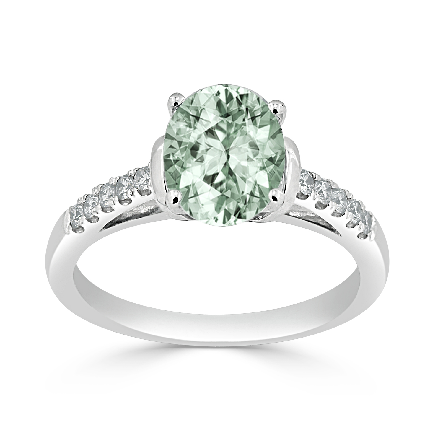 Halo Green Amethyst Diamond Ring in 14K White Gold with 1.30 carat Oval Green Amethyst