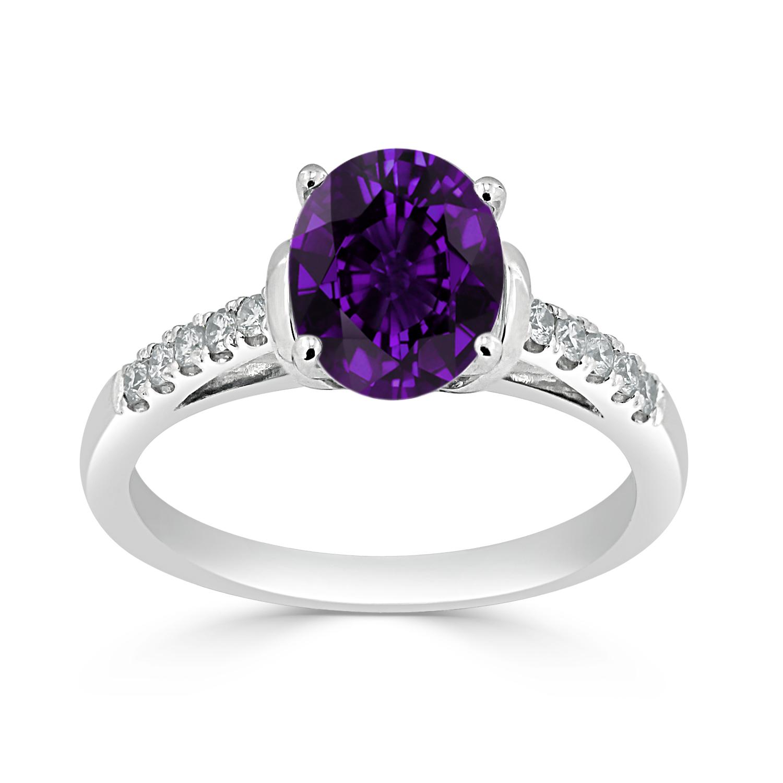 Halo Purple Amethyst Diamond Ring in 14K White Gold with 1.30 carat Oval Purple Amethyst