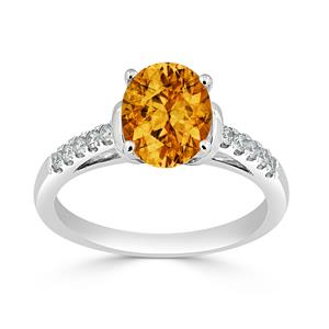 Halo Citrine Diamond Ring in 14K White Gold with 1.90 carat Oval Citrine