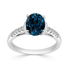 Halo London Blue Topaz Diamond Ring in 14K White Gold with 1.90 carat Oval London Blue Topaz