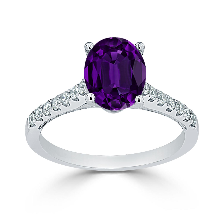 Halo Purple Amethyst Diamond Ring in 14K White Gold with 1 carat Oval Purple Amethyst
