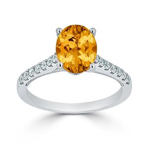Halo Citrine Diamond Ring in 14K White Gold with 1.50 carat Oval Citrine