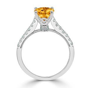 Halo Citrine Diamond Ring in 14K White Gold with 1.50 carat Oval Citrine