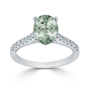 Halo Green Amethyst Diamond Ring in 14K White Gold with 1 carat Oval Green Amethyst