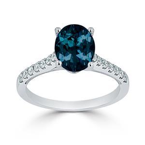 Halo London Blue Topaz Diamond Ring in 14K White Gold with 1.50 carat Oval London Blue Topaz