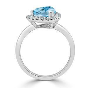 Halo Sky Blue Topaz Diamond Ring in 14K White Gold with 2.10 carat Trillion Sky Blue Topaz