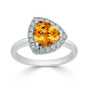 Halo Citrine Diamond Ring in 14K White Gold with 2.10 carat Trillion Citrine