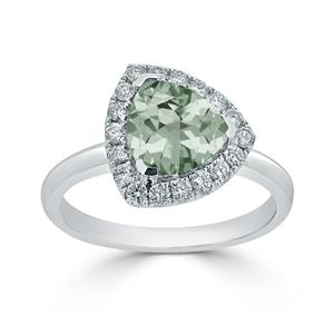 Halo Green Amethyst Diamond Ring in 14K White Gold with 1.50 carat Trillion Green Amethyst