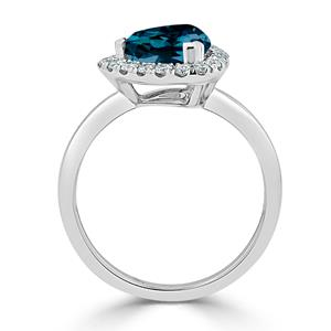 Halo London Blue Topaz Diamond Ring in 14K White Gold with 2.10 carat Trillion London Blue Topaz