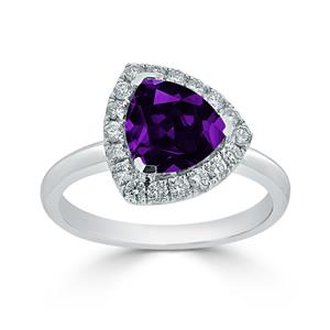 Halo Purple Amethyst Diamond Ring in 14K White Gold with 1.50 carat Trillion Purple Amethyst