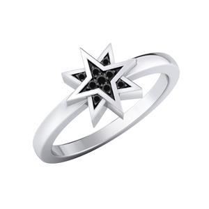 Black Diamond Ring In 14K White Gold