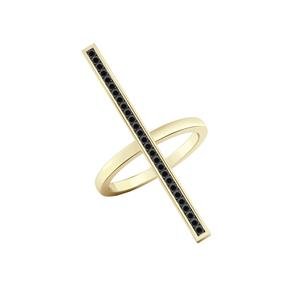 Bar Shaped Black Diamond Ring In 14K Yellow Gold