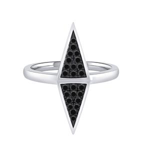 Double Triangle Shaped Black Diamond Ring In 14K White Gold