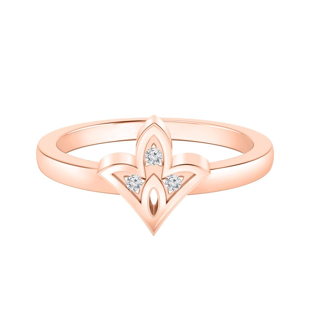 Spade Shaped Diamond Ring In 14K Rose Gold