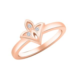 Spade Shaped Diamond Ring In 14K Rose Gold