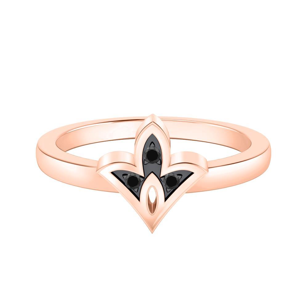 Spade Shaped Black Diamond Ring In 14K Rose Gold