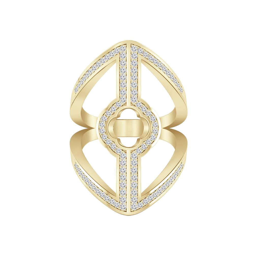 Fashion Split Shank Diamond Ring In 14K Yellow Gold