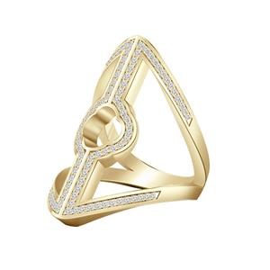 Fashion Split Shank Diamond Ring In 14K Yellow Gold