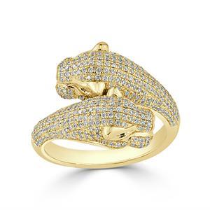 Modern Emerald and Diamond Fashion Ring In 14K Yellow Gold