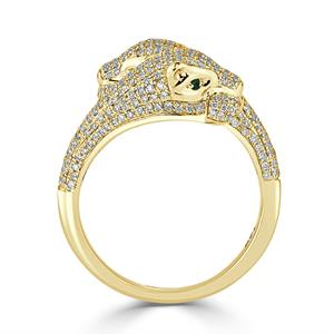 Modern Emerald and Diamond Fashion Ring In 14K Yellow Gold