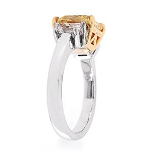 Three Stone GIA Certified 3 carat Radiant Yellow Diamond Engagement Ring in Platinum