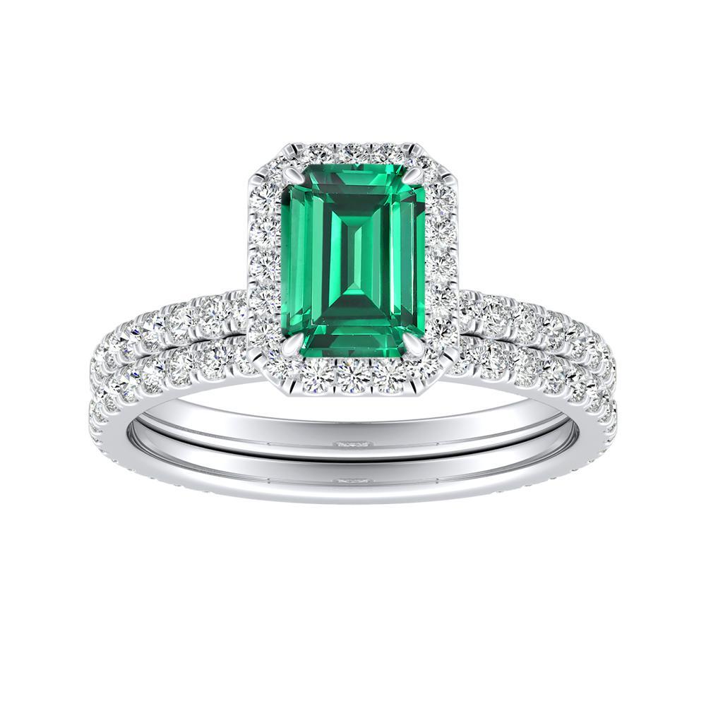Emerald Wedding Band.Skylar Halo Green Emerald Wedding Ring Set In 14k White Gold With 0 50 Carat Emerald Stone