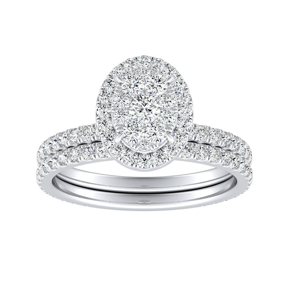 SKYLAR Halo Diamond Wedding Ring Set In 14K White Gold With Oval Diamond In H-I SI1-SI2 Quality