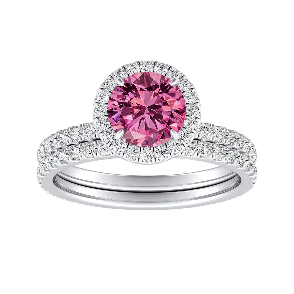 SKYLAR Halo Pink Sapphire Wedding Ring Set In 14K White Gold With 0.50 Carat Round Stone