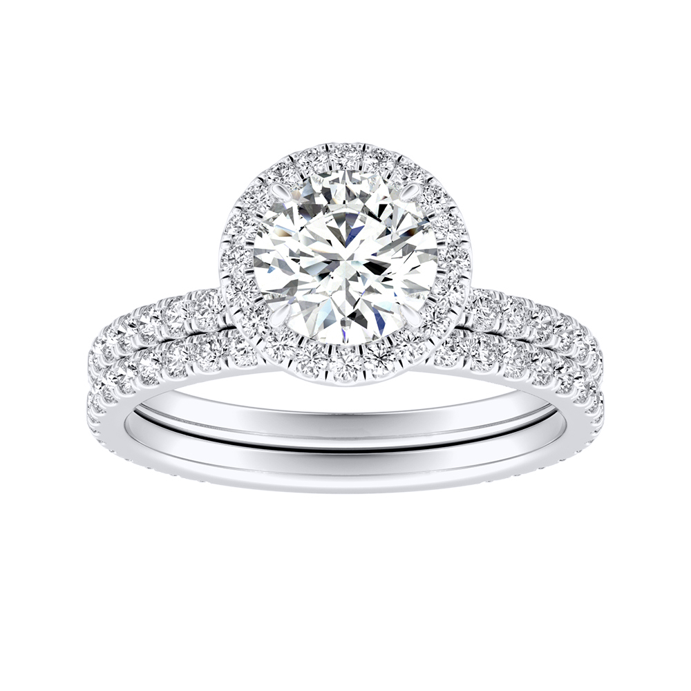 SKYLAR Halo Diamond Wedding Ring Set In 14K White Gold