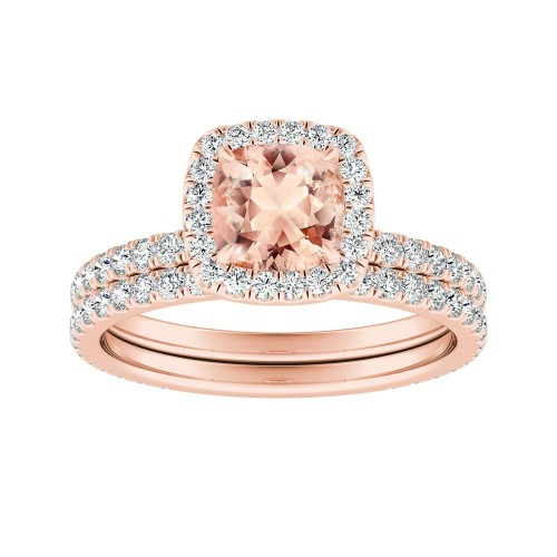 SKYLAR Halo Morganite Wedding Ring Set In 14K Rose Gold With 1.00 Carat  Cushion Stone