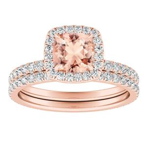 SKYLAR  Halo  Morganite  Wedding  Ring  Set  In  14K  Rose  Gold  With  1.00  Carat  Cushion  Stone