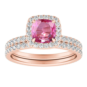SKYLAR  Halo  Pink  Sapphire  Wedding  Ring  Set  In  14K  Rose  Gold  With  0.50  Carat  Cushion  Stone