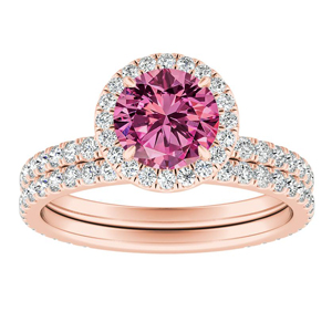 SKYLAR  Halo  Pink  Sapphire  Wedding  Ring  Set  In  14K  Rose  Gold  With  0.50  Carat  Round  Stone