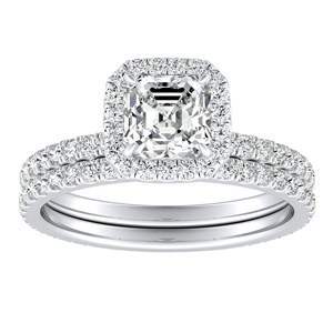 SKYLAR Halo Diamond Wedding Ring Set In 14K White Gold With 3.00ct. Asscher Diamond