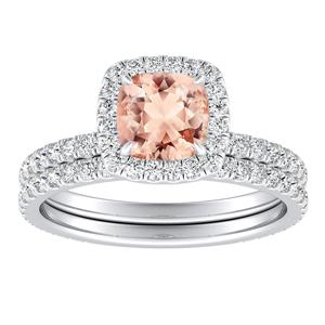 <span>SKYLAR</span> Halo  Morganite  Wedding  Ring  Set  In  14K  White  Gold  With  1.00  Carat  Cushion  Stone