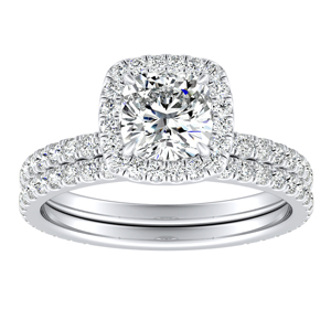 SKYLAR Halo Diamond Wedding Ring Set In 14K White Gold With 3.00ct. Cushion Diamond