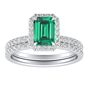 SKYLAR  Halo  Green  Emerald  Wedding  Ring  Set  In  14K  White  Gold  With  0.50  Carat  Emerald  Stone