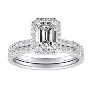 SKYLAR Halo Diamond Wedding Ring Set In 14K White Gold With 1.00ct. Emerald Diamond