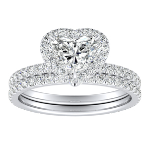 SKYLAR Halo Diamond Wedding Ring Set In 14K White Gold With 1.00ct. Heart Diamond