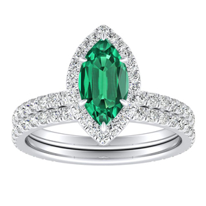 SKYLAR  Halo  Green  Emerald  Wedding  Ring  Set  In  14K  White  Gold  With  0.50  Carat  Marquise  Stone