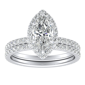 SKYLAR Halo Diamond Wedding Ring Set In 14K White Gold With 1.00ct. Marquise Diamond