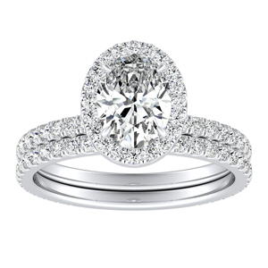 SKYLAR Halo Diamond Wedding Ring Set In 14K White Gold With 3.00ct. Oval Diamond