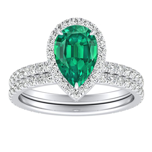 SKYLAR  Halo  Green  Emerald  Wedding  Ring  Set  In  14K  White  Gold  With  0.50  Carat  Pear  Stone